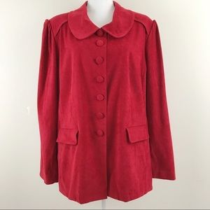 Cato Peter Pan Button Up Red Velvet Jacket 22W